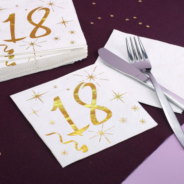 Servietten mit Gold-Metallic zum 18. Geburtstag