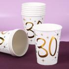 10 weiße Pappbecher mit Gold-Metallic zum 30. Geburtstag