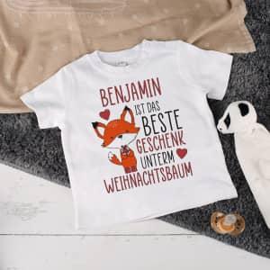 Baby T-Shirt zu Weihnachten mit Name