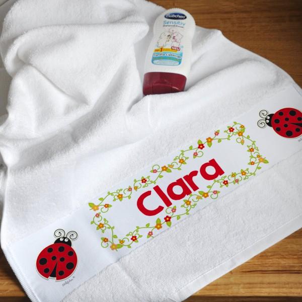 Individuellbadzubehör - Handtuch für Kinder mit Marienkäfer und bunten Blüten - Onlineshop Geschenke online.de
