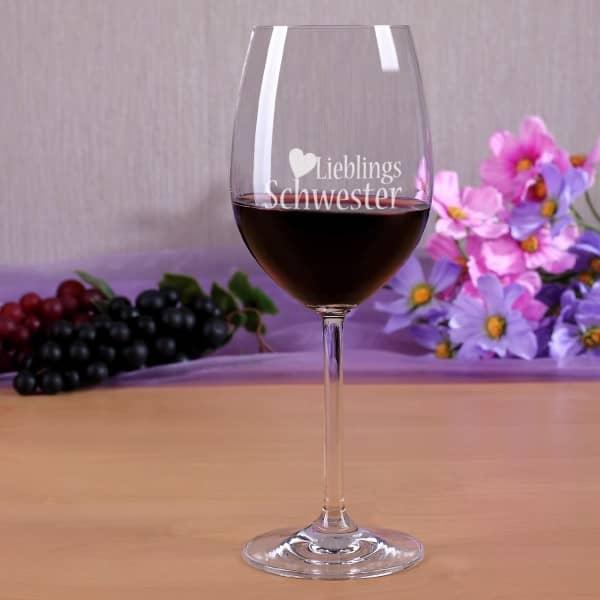 Rotweinglas Lieblingsschwester