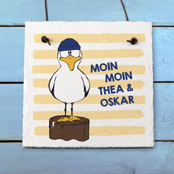 Schieferplatte mit Möwe, Moin Moin und Ihrem Wunschtext