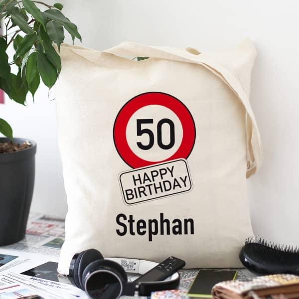Baumwollbeutel zum Geburtstag mit Achtung Verkehrszeichen, Alter und Name