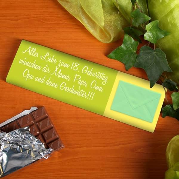 Schokolade mit langen Wunschtext und Briefumschlag