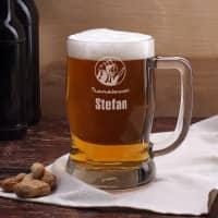 gravierter Bierkrug für Feuerwehrmänner mit Name und Dienstgrad, 0,5 L