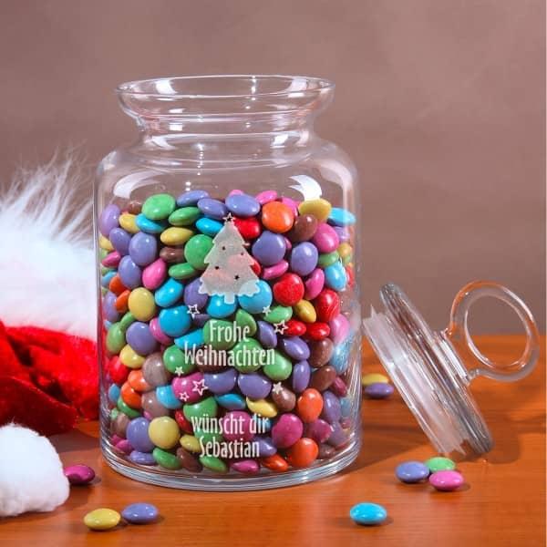 Glasdose zu Weihnachten mit Gravur