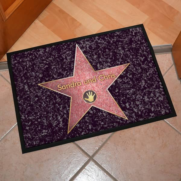 walk of fame fu matte mit namen personalisiert. Black Bedroom Furniture Sets. Home Design Ideas