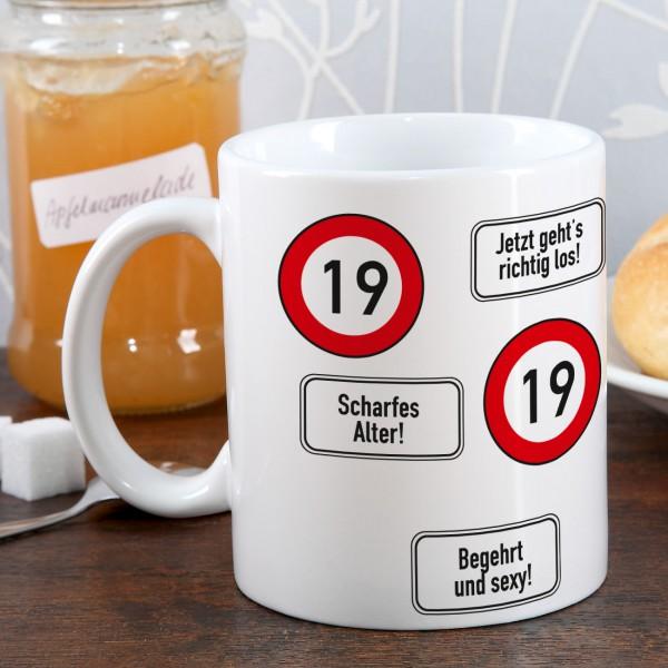Kaffeetasse zum 19. Geburtstag