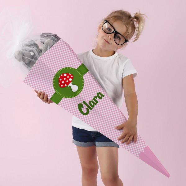 Glückspilz Zuckertüte für Mädchen mit Name, 80 cm