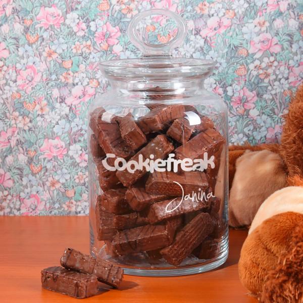 Glasdose für Süßigkeiten Cookiefreak mit Vornamen