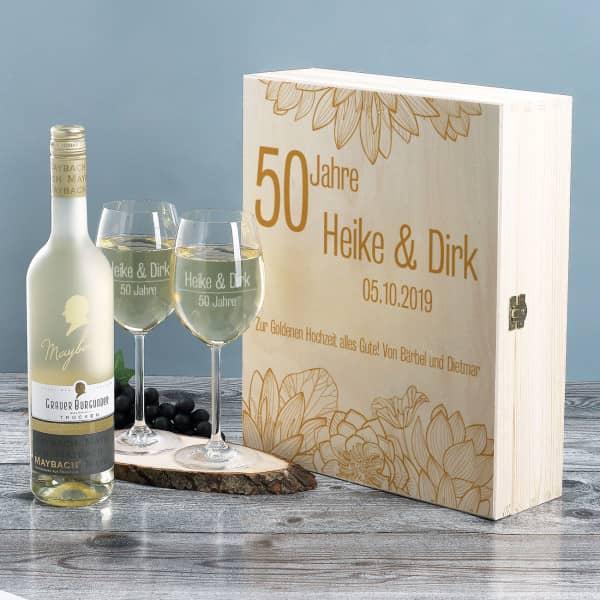 Geschenkset zur Goldenen Hochzeit mit Maybach Weißwein