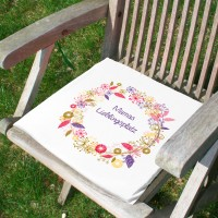 Sitzkissen mit Sommerblütenkranz und Wunschtext