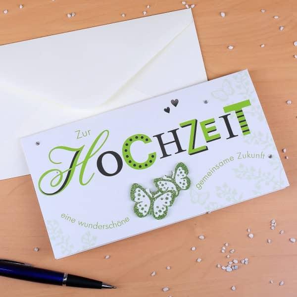Hochzeitskarte in länglichem Format mit grünem Motiv