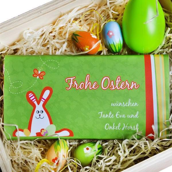 6er Pack 100g Schokolade mit Wunschtext zu Ostern