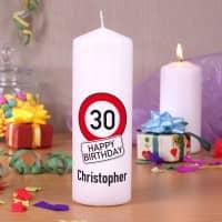 Geburtstagskerze mit Achtung - Verkehrszeichen, Alter und Name