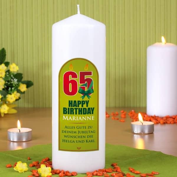 persönliche Kerze zum 65. Geburtstag