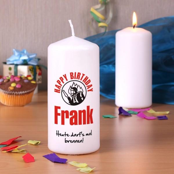 Happy Birthday Kerze für Feuerwehrmänner
