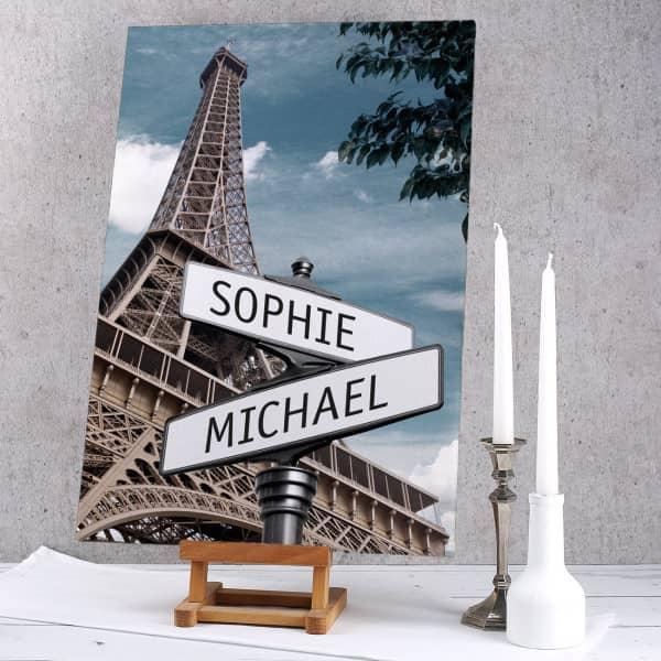 Keilrahmen Leinwand Paris Straßenschilder mit Ihren Namen