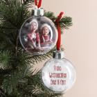 personalisierte Christbaum-Kugel mit Foto und Wunschtext