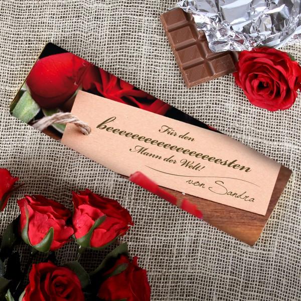 Ihre Liebesgrüße auf einer 300 Gramm Tafel Schokolade