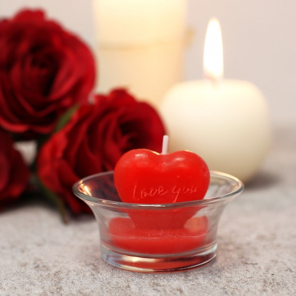 Niedliche Herzkerze im Glas *Love You*