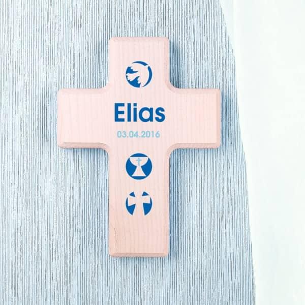Holzkreuz zur Konfirmation oder Kommunion mit Wunschname und Datum