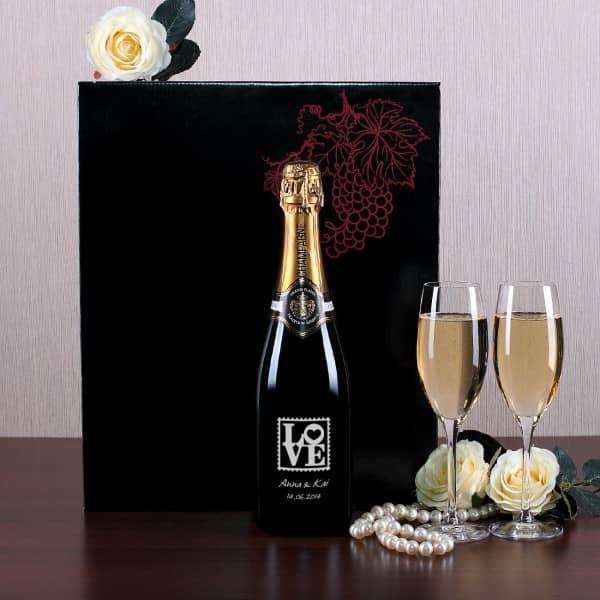 Exklusives Champagner-Set mit Gravur zur Hochzeit, Love