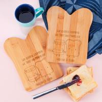 Bambusbrettchen im Set mit Toast und Marmelade und Spruch