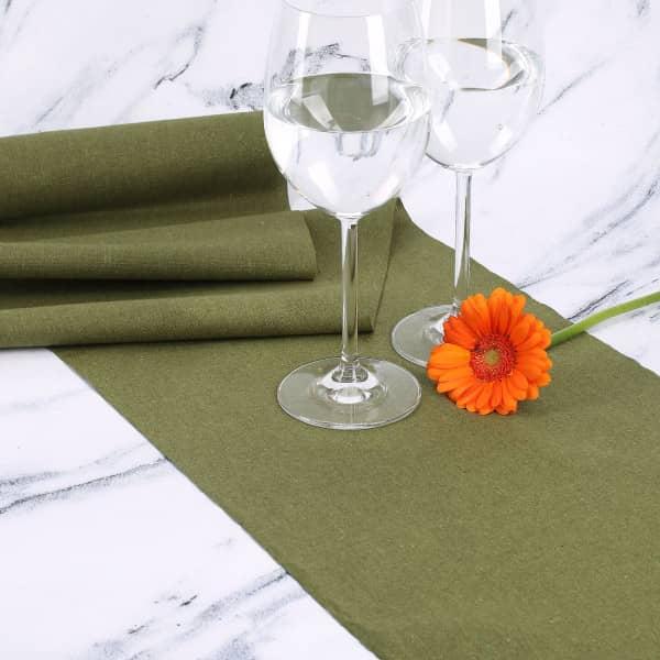 Khaki-Farbener Tischläufer aus Baumwolle
