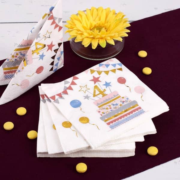 Geburtstags-Servietten zum 4. Geburtstag