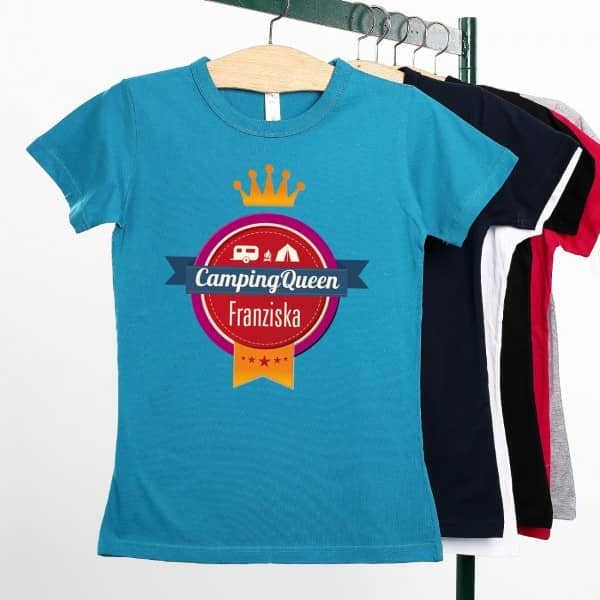 Camping Queen Damen T Shirt mit Name