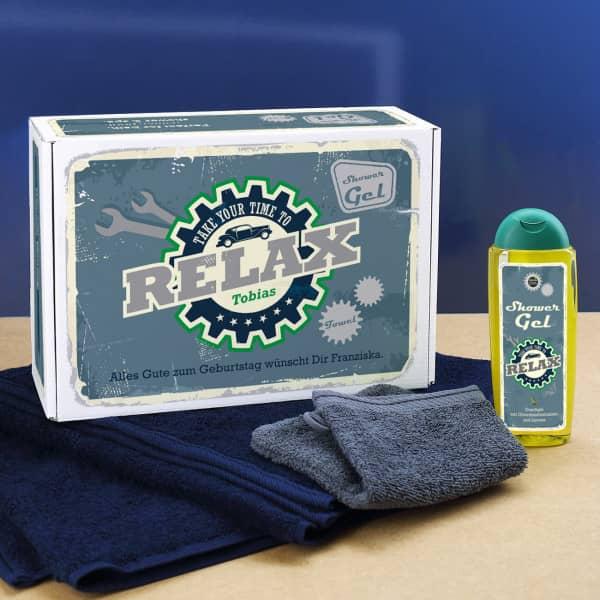 Relax Pflegeset für Männer - Handtuch und Duschgel in Geschenkbox