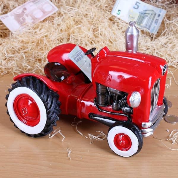 Große Spardose Traktor in Rot
