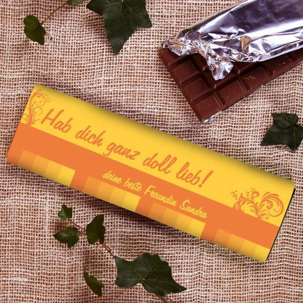 300g Schokolade in Gelbtönen mit 2 Wunschzeilen