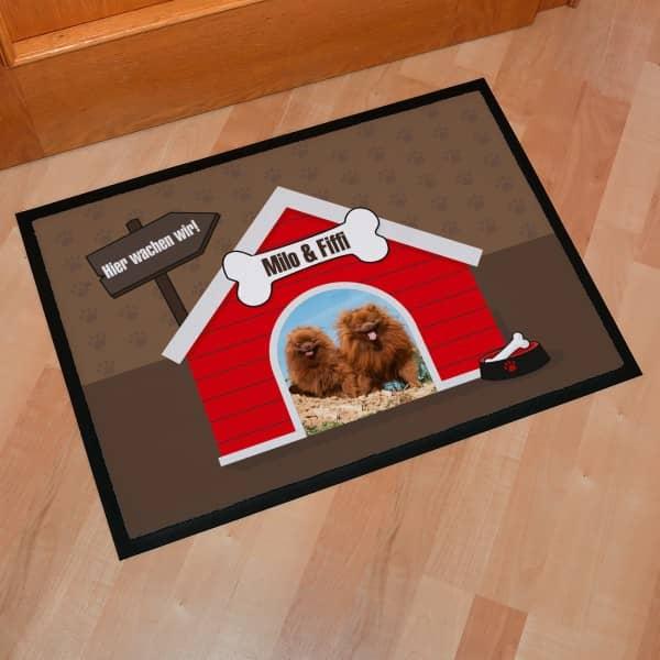 Fussmatte für Hundebesitzer mit Foto in Hundehütte