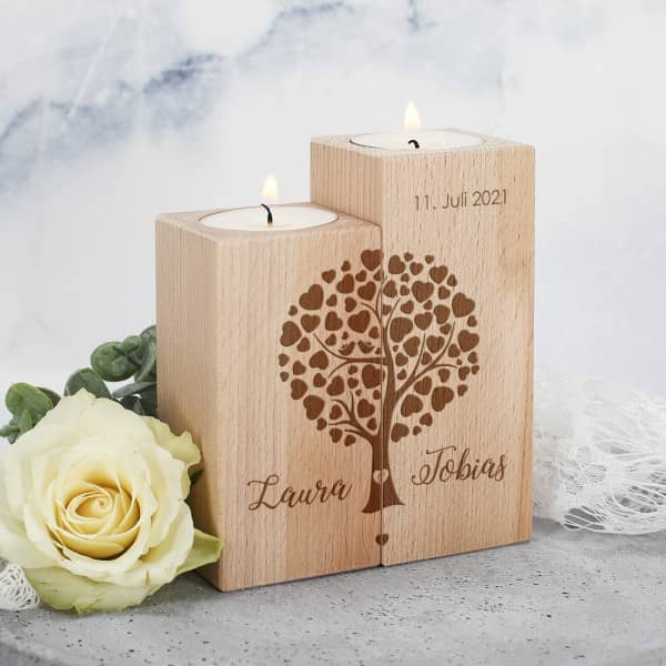 Teelichthalter aus Holz mit Herzbaum mit Namen und Datum, 2er Set