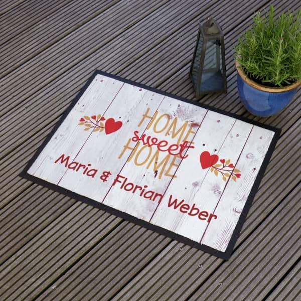 Home Sweet Home Fußabtreter mit Ihren Namen bedruckt