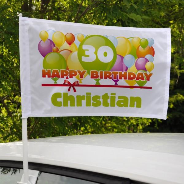 Geburtstag Fahne Auto Name Alter Luftballons