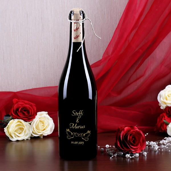 Käfer Proseccoflasche zur Hochzeit mit silberner oder goldener Gravur