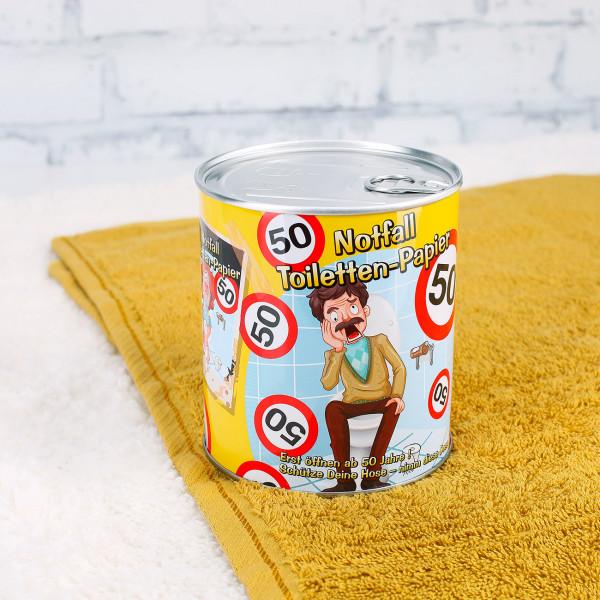Notfall Toilettenpapier in der Dose zum 50.Geburtstag