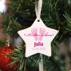 Weihnachtsstern für Mädchen - A Star is born - mit Wunschname und Datum bedruckt