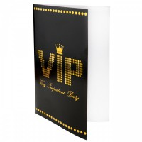 10 Tischkarten VIP in schwarz / gold