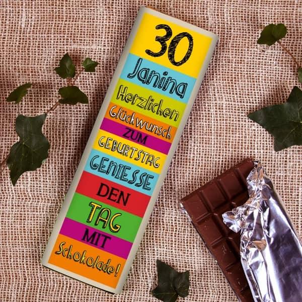 Extragroße Geburtstags- Schokolade mit Name und Alter