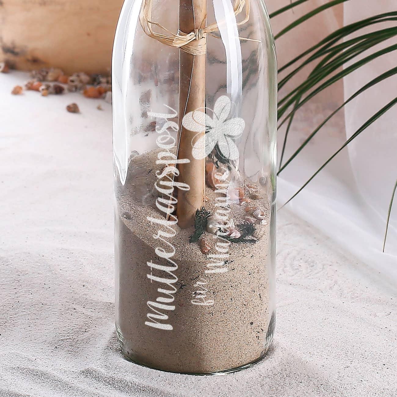 Flaschenpost mit Engelflügel Flasche 21 cm Glas für Gutschein Geldgeschenk Deko