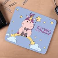 Einhorn-Mousepad mit Ihrem Wunschnamen bedruckt