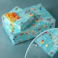 Geschenkpapier mit Geburtstagsmotiv, Name und Alter