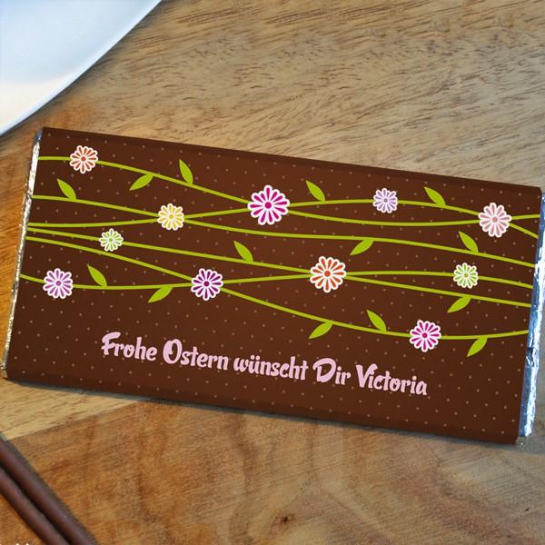 Schokolade mit Blumen und persönlichem Grußtext
