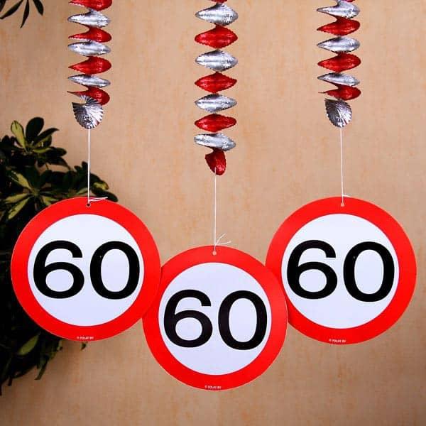 Spiral dekoration verkehrsschild 60 for 60 geburtstag dekoration