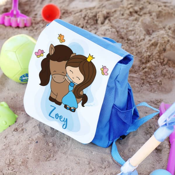 Rucksack in zwei Farben mit Prinzessin und Pferd