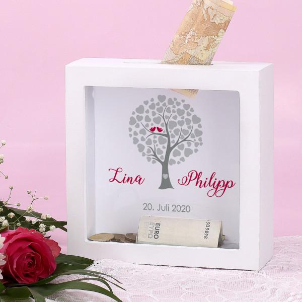 Bilderrahmen Spardose zur Hochzeit mit Herzbaum mit Namen und Datum